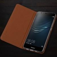 Кожаный чехол горизонтальная книжка подставка (премиум нат. кожа крокодила) для Huawei P9 Коричневый