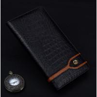 Кожаный чехол горизонтальная книжка подставка (премиум нат. кожа крокодила) для Huawei P9 Черный