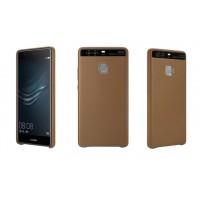 Оригинальный кожаный чехол накладка (премиум нат. кожа) для Huawei P9  Коричневый