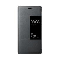 Оригинальный кожаный смартчехол горизонтальная книжка (премиум нат. кожа) на пластиковой основе с окном вызова для Huawei P9  Черный