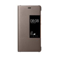Оригинальный кожаный смартчехол горизонтальная книжка (премиум нат. кожа) на пластиковой основе с окном вызова для Huawei P9  Коричневый