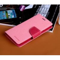 Дизайнерский текстурный чехол портмоне подставка на силиконовой основе с магнитной защелкой для Samsung Galaxy Win Розовый