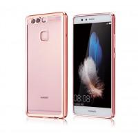 Силиконовый матовый полупрозрачный чехол текстура металл для Huawei P9 Розовый