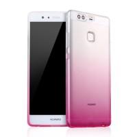 Силиконовый матовый полупрозрачный градиентный чехол для Huawei P9 Розовый