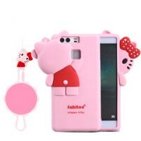 Силиконовый матовый непрозрачный дизайнерский фигурный чехол для Huawei P9 Розовый