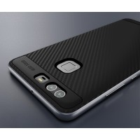 Двухкомпонентный силиконовый матовый непрозрачный чехол с поликарбонатным бампером для Huawei P9  Серый