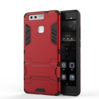 Антиударный гибридный силиконовый чехол с поликарбонатной крышкой и встроенной ножкой-подставкой для Huawei P9 Красный