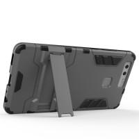 Антиударный гибридный силиконовый чехол с поликарбонатной крышкой и встроенной ножкой-подставкой для Huawei P9 Серый