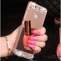 Двухкомпонентный чехол c металлическим бампером с ручной аппликацией стразами, поликарбонатной накладкой, зеркальным покрытием и стразами для Huawei P9 Розовый