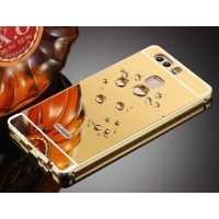 Двухкомпонентный чехол c металлическим бампером с поликарбонатной накладкой и зеркальным покрытием для Huawei P9 Бежевый