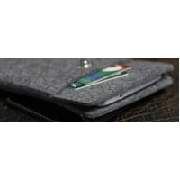 Войлочный мешок с кожаной отделкой, магнитным клапаном и отсеком для карт для Huawei P9  Черный