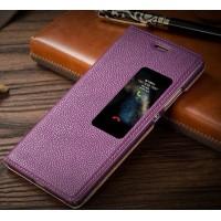 Кожаный чехол горизонтальная книжка подставка на пластиковой основе с окном вызова для Huawei P9 Фиолетовый