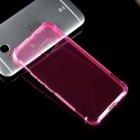 Силиконовый матовый полупрозрачный противоударный чехол с усиленными углами для HTC 10  Розовый