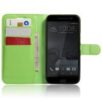 Чехол портмоне подставка на силиконовой основе на магнитной защелке для HTC 10  Зеленый