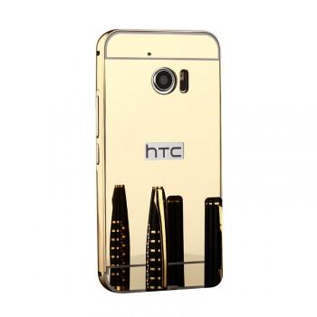 Двухкомпонентный чехол c металлическим бампером с поликарбонатной накладкой и зеркальным покрытием для HTC 10