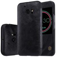Чехол горизонтальная книжка на пластиковой основе с окном вызова текстура Кожа для HTC 10  Черный