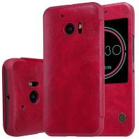 Чехол горизонтальная книжка на пластиковой основе с окном вызова текстура Кожа для HTC 10  Красный