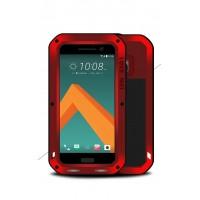 Эксклюзивный многомодульный ультрапротекторный пылевлагозащищенный ударостойкий нескользящий чехол алюминиево-цинковый сплав/силиконовый полимер с закаленным защитным стеклом для HTC 10  Красный