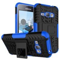 Силиконовый матовый непрозрачный чехол с нескользящими гранями, улучшенной защитой элементов корпуса (заглушки) и встроенной ножкой-подставкой для Samsung Galaxy J1 (2016) Синий