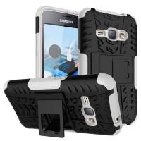 Силиконовый матовый непрозрачный чехол с нескользящими гранями, улучшенной защитой элементов корпуса (заглушки) и встроенной ножкой-подставкой для Samsung Galaxy J1 (2016) Белый