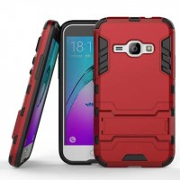Силиконовый матовый непрозрачный чехол с улучшенной защитой элементов корпуса (заглушки) и встроенной ножкой-подставкой для Samsung Galaxy J1 (2016)  Красный