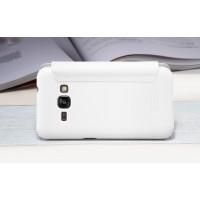 Чехол горизонтальная книжка на пластиковой нескользящей премиум основе для Samsung Galaxy J1 (2016) Белый