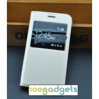 Чехол горизонтальная книжка на пластиковой основе с окном вызова для Samsung Galaxy J1 (2016) Бежевый