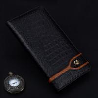 Кожаный чехол горизонтальная книжка (премиум нат. кожа крокодила) для Meizu Pro 6 Черный