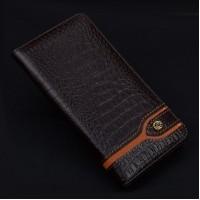 Кожаный чехол горизонтальная книжка (премиум нат. кожа крокодила) для Meizu Pro 6 Коричневый