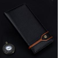 Кожаный чехол горизонтальная книжка (премиум нат. кожа) для Meizu Pro 6 Черный
