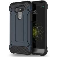 Противоударный двухкомпонентный силиконовый матовый непрозрачный чехол с поликарбонатными вставками экстрим защиты для LG G5 Синий