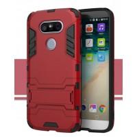 Противоударный двухкомпонентный силиконовый матовый непрозрачный чехол с поликарбонатными вставками экстрим защиты с встроенной ножкой-подставкой для LG G5  Красный