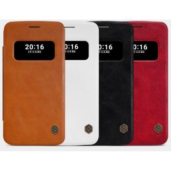 Чехол горизонтальная книжка на пластиковой основе с окном вызова текстура Кожа для LG G5