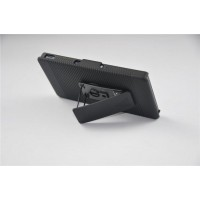 Противоударный двухкомпонентный силиконовый матовый непрозрачный чехол с поликарбонатными вставками, клипсой для ремня и встроенной ножкой-подставкой для Sony Xperia Z3 Compact