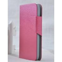 Чехол горизонтальная книжка подставка текстура Золото на пластиковой основе с отсеком для карт на магнитной защелке для Samsung Galaxy S4 Mini  Розовый