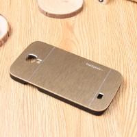Пластиковый непрозрачный матовый чехол с текстурным покрытием Металл для Samsung Galaxy S4 Mini Бежевый