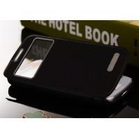 Чехол горизонтальная книжка на пластиковой основе с окном вызова и текстурным покрытием для Samsung Galaxy S4 Mini Черный
