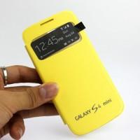 Чехол горизонтальная книжка на пластиковой встраиваемой основе с окном вызова для Samsung Galaxy S4 Mini Желтый