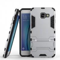 Противоударный двухкомпонентный силиконовый матовый непрозрачный чехол с поликарбонатными вставками экстрим защиты с встроенной ножкой-подставкой для Samsung Galaxy A3 (2016)  Белый