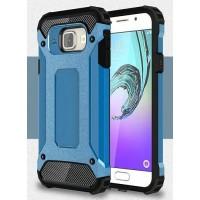 Противоударный двухкомпонентный силиконовый матовый непрозрачный чехол с поликарбонатными вставками экстрим защиты для Samsung Galaxy A3 (2016)  Синий