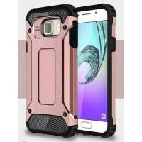 Противоударный двухкомпонентный силиконовый матовый непрозрачный чехол с поликарбонатными вставками экстрим защиты для Samsung Galaxy A3 (2016)  Розовый
