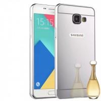 Двухкомпонентный чехол c металлическим бампером с поликарбонатной накладкой и зеркальным покрытием для Samsung Galaxy A3 (2016) Белый