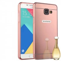 Двухкомпонентный чехол c металлическим бампером с поликарбонатной накладкой и зеркальным покрытием для Samsung Galaxy A3 (2016) Розовый