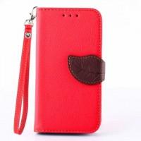 Чехол портмоне подставка на силиконовой основе на дизайнерской магнитной защелке для Samsung Galaxy Core 2 Красный