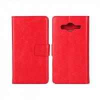 Глянцевый водоотталкивающий чехол портмоне подставка на пластиковой основе на магнитной защелке для Samsung Galaxy Core 2 Красный