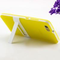 Двухкомпонентный силиконовый матовый непрозрачный чехол с поликарбонатными вставками с встроенной ножкой-подставкой для Huawei Honor 4C Желтый
