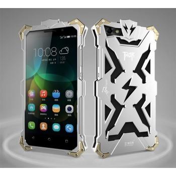 Цельнометаллический противоударный чехол из авиационного алюминия на винтах с мягкой внутренней защитной прослойкой для гаджета с прямым доступом к разъемам для Huawei Honor 4C