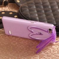 Силиконовый матовый полупрозрачный дизайнерский фигурный чехол с встроенной ножкой-подставкой для Huawei Honor 4C  Фиолетовый