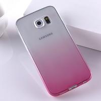 Силиконовый матовый полупрозрачный градиентный чехол для Samsung Galaxy S6 Edge  Розовый
