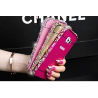 Двухкомпонентный чехол c металлическим бампером с ручной аппликацией стразами и поликарбонатной накладкой для Samsung Galaxy S6 Edge